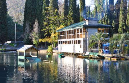 Cafe Tri Platana in Seaside Park. New Athos, Abkhazia Editorial