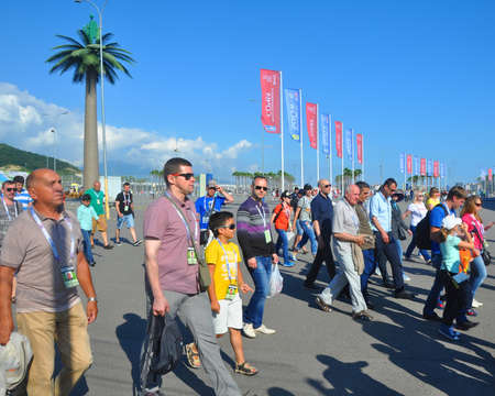 People go to the Olympic Park for the football match of the Confederations Cup 2017 Reklamní fotografie - 81983855