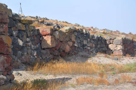 "A section of the wall of Metsamor. Historical-archeological museum-reserve ""Metsamor"". Armenia"