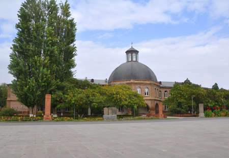 Gevorgyan Seminary. In front of the building there are medieval khachkars. Echmiadzin, Armenia