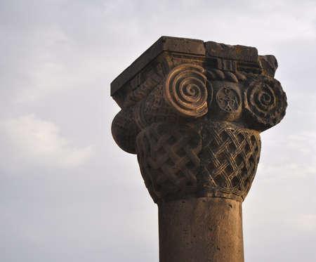 The old column of the Ionic order. Zvartnots, Armenia Stock fotó