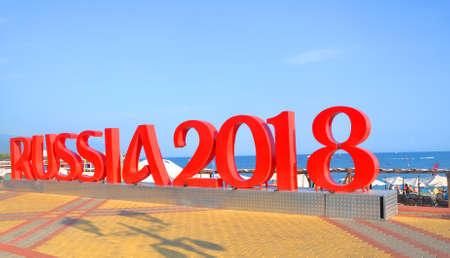 Letters Russia 2018 on the sea promenade. SOCHI, RUSSIA
