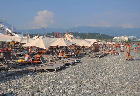 Equipped beach belongs to the resort of Rosa Khutor. SOCHI, RUSSIA