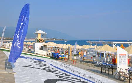 The Radisson BLU Resort & Congress hotels beach in the Imereti Lowland. SOCHI, RUSSIA