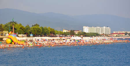 Many people on new beaches in the Imereti lowland. SOCHI, RUSSIA 報道画像