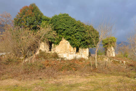 The ruins of an ancient building in the village of Otkhara. Abkhazia