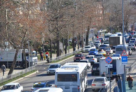 SOCHI, RUSSIA - FEBRUARY 16, 2017: The traffic jam on Donskaya Street. In mountain towns narrow roads, so traffic jams are often