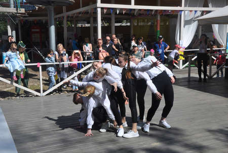 Performance of the childrens dance group at the Sochi Open Fest festival in 2018. SOCHI, RUSSIA
