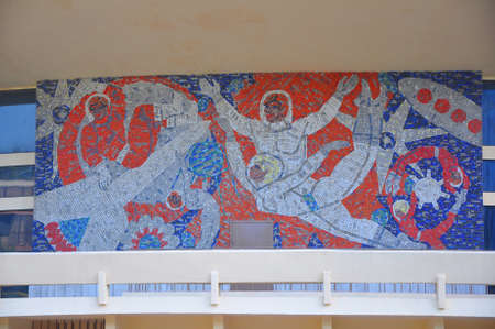 SOCHI, RUSSIA - MAY 27, 2018: Mosaic panel on the facade of the circus.