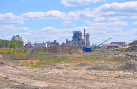 KRICHEV, BELARUS - MAY 12, 2017:The second line of Krichevsky cement-slate combine