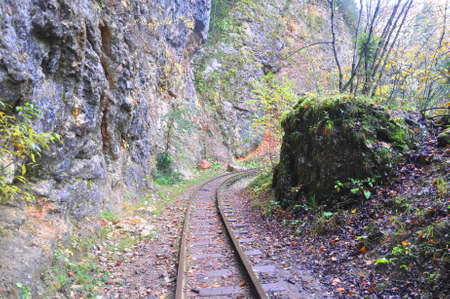 The railroad in the Guam Gorge makes a turn. Mezmay, Russia 写真素材