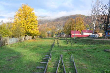 arrow-gauge railway in the village of Mezmay. Russia