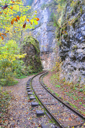 The railroad in the Guam Gorge runs between the rocks. Russia