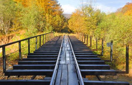 Railway bridge across the Kurdzhips river on the narrow-gauge Mezmay-Guamka road. Russia 写真素材