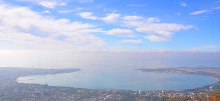 Gelendzhik Bay. View from above. It is cloudy. Gelendzhik, Russia
