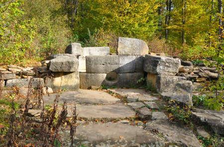 Destroyed compound dolmen in the Zhane River Valley. Dolmen group Zhane I. Krasnodar region, Russia
