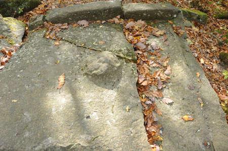 Plate with imitation cork. Part of the false portal dolmen. Group of dolmens Zhane II. Krasnodar region, Russia