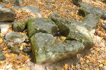 Chipped portal dolmen plate. Zhane II Dolmen Group. Krasnodar Region, Russia 写真素材