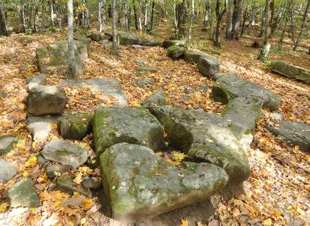Ruined compound dolmen. Dolmen group Zhane II. Krasnodar region, Russia 写真素材