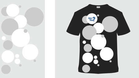 Stylish t-shirt and clothes trendy design with Abstract composition with black and white circles and the inscription are you. Inter atomic or planetary energy interaction. Limited color palette. Chaos bubbles.