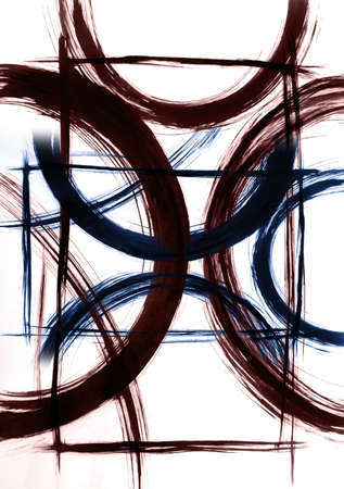 A human porter in an abstract style created by flexible semicircular lines in a harmonious composition. Energy profit meditation 免版税图像