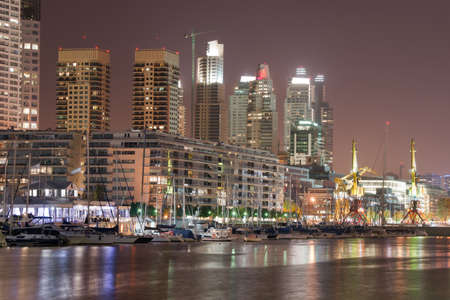 aires: Buenos Aires cityscape and yacht club at night
