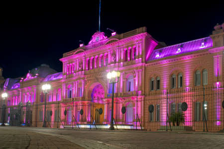 aires: Presidential Palace of Argentina at night