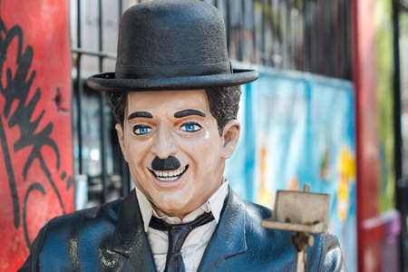 chaplin: Statue of Charlie Chaplin, Head and Shoulders Close-up Editorial