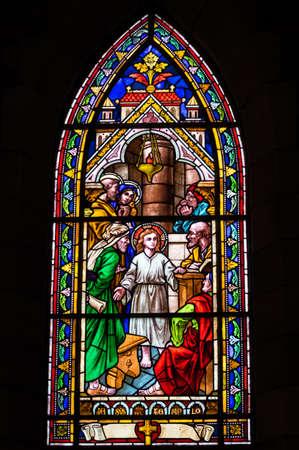 nahuel huapi: BARILOCHE, ARGENTINA - MARCH 10, 2014 - Stained glass window inside catholic church, Nahuel Huapi Cathedral
