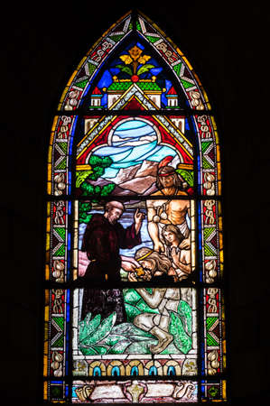 huapi: BARILOCHE, ARGENTINA - MARCH 10, 2014 - Stained glass window inside catholic church, Nahuel Huapi Cathedral