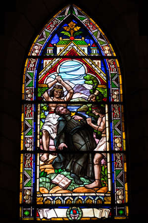 bariloche: BARILOCHE, ARGENTINA - MARCH 10, 2014 - Stained glass window inside catholic church, Nahuel Huapi Cathedral