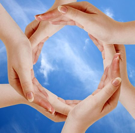 Circle made of human hands Stock Photo - 6552756