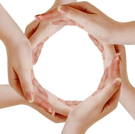 Circle made of human hand isolated on white Stock Photo - 6552752