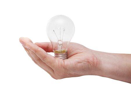 iluminados: Bombilla de energía en la mano del hombre