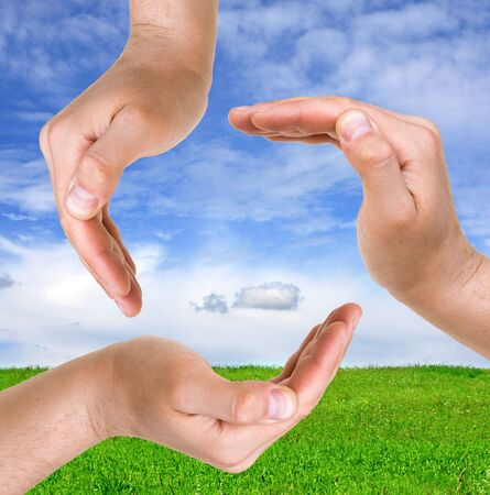 clean air: Hands sign on nature background