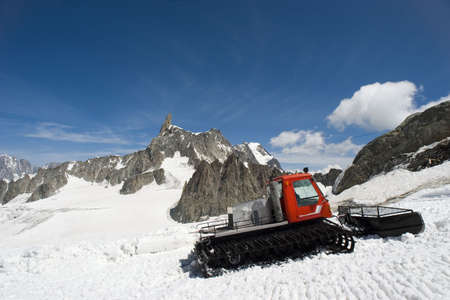 A snow machine rests on top of the alps in Chamonix, France. photo