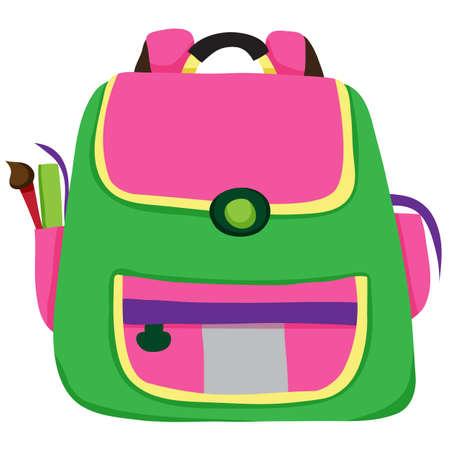 School bag on white background Vector