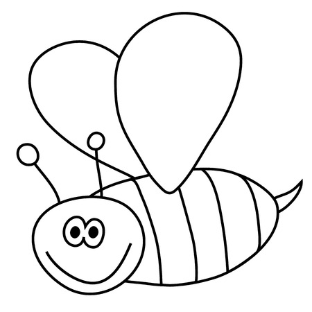 Black and white outlined version of a bee Vector