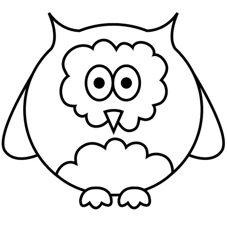 Black and white outlined illustration of owl  Vector  Vector