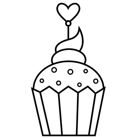 Outlined illustration of cupcake Vector