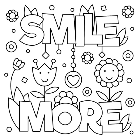 Smile more. Coloring page. Vector illustration.