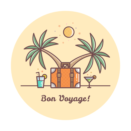 Bon Voyage. Suitcase and palm trees. Vector illustration. Illustration