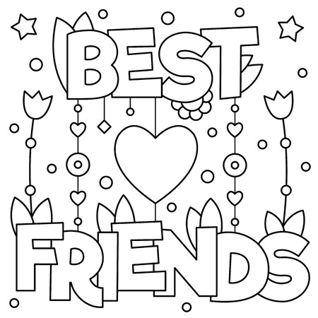 best book: Best friends Coloring page, Vector illustration. Illustration