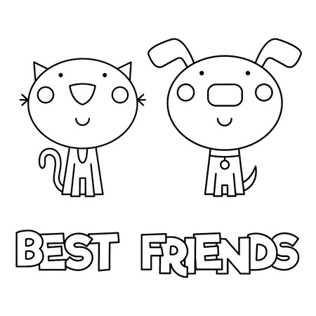 Best friends, Coloring page, Vector illustration.