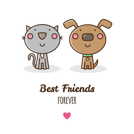 Illustration vectorielle de chat et de chien. Banque d'images - 80954874