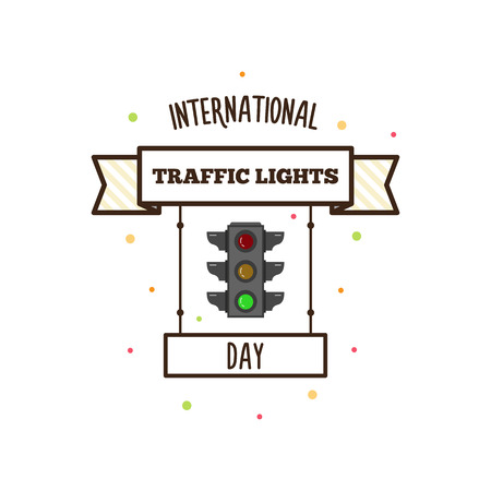 Día internacional de semáforos. Ilustración del vector. Bandera Foto de archivo - 81958358
