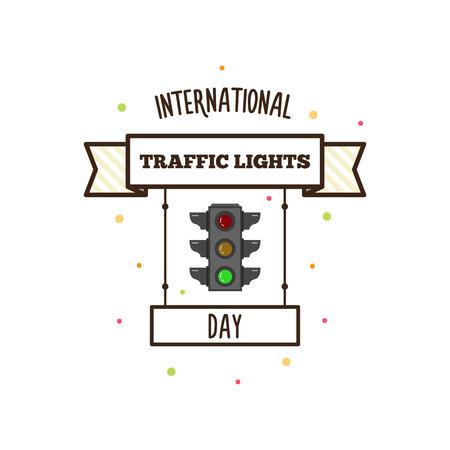 Internationale verkeerslichtendag. Vector illustratie. banier Stock Illustratie