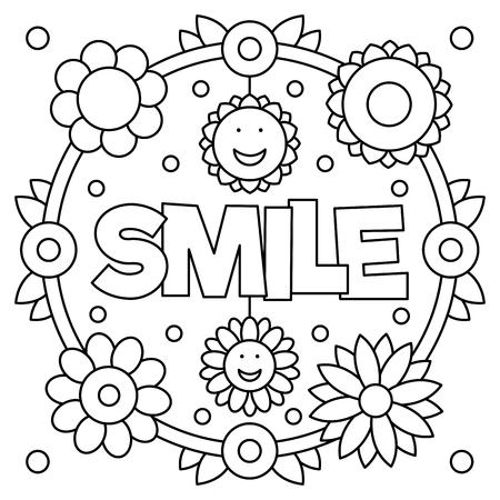 Glimlach. Kleurplaat. Vector illustratie.