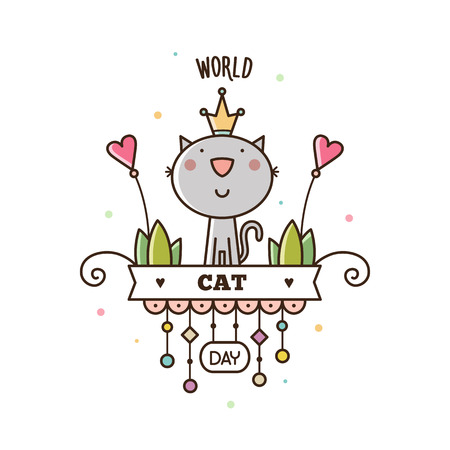 World Cat Day. Vector illustration