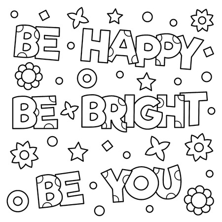 Inspirational coloring page. Black and white vector illustration. Illustration